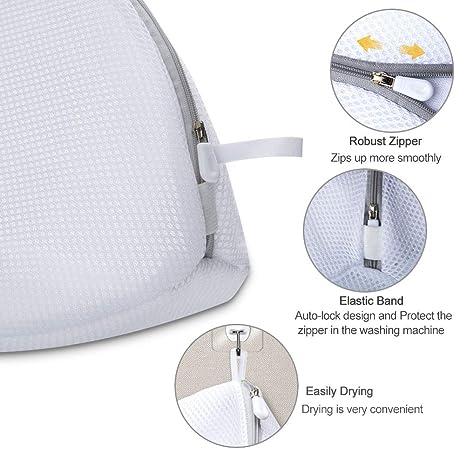 AJOXEL Paquete de 3 Bolsas de Lavado para Zapatos, Saco Lavadora para Lavar Zapatillas Malla Bolsas para la Colada/Secadora Proteger la Ropa Lavandería ...