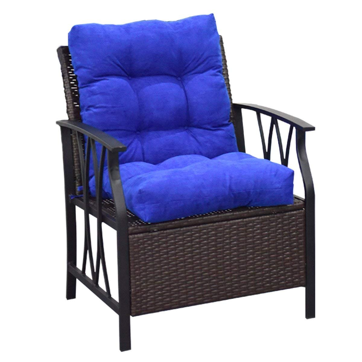 Giantex Patio High Back Chair Cushion Tufted Pillow Indoor Outdoor Spring/Summer Seasonal Swing Glider Seat Replacement Cushions (42'' Blue)