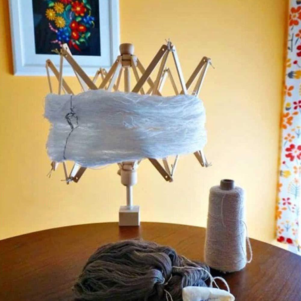 Hand Operated Bobbin Winder Holder Knitting Tool for Wool String 1 Pack Birch Umbrella Swift Yarn Winder Wooden