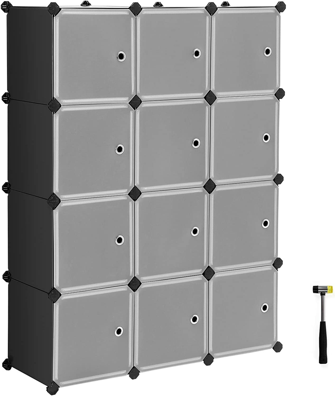 SONGMICS Cube Storage Organizer, 12-Cube Closet Storage Shelves, DIY Plastic Closet Cabinet, Modular Bookcase, Storage Shelving with Doors for Bedroom, Living Room, Office, Black ULPC34HV1