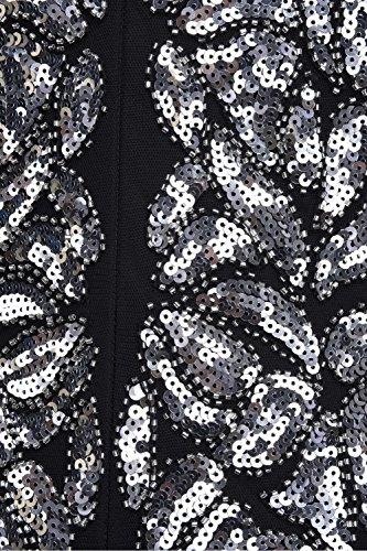 Vestido De Largo Fiesta Prettyguide Mujeres's Maxi Plateado Negro Noche 1920 Lentejuelas Gatsby nnSCq4zw