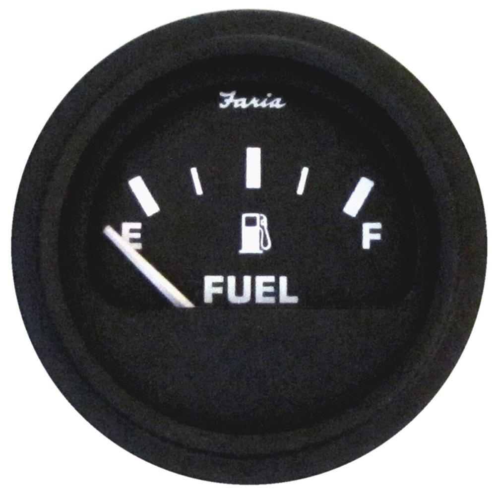 Faria Heavy-Duty Black 2'' Fuel Level Gauge (E-1/2-F)