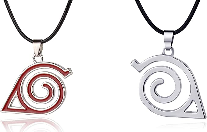 Naruto.Master Online Leaf Village Ninja Kakashi Symbol Logo Pendant Necklace Silver and red(2 Pack)
