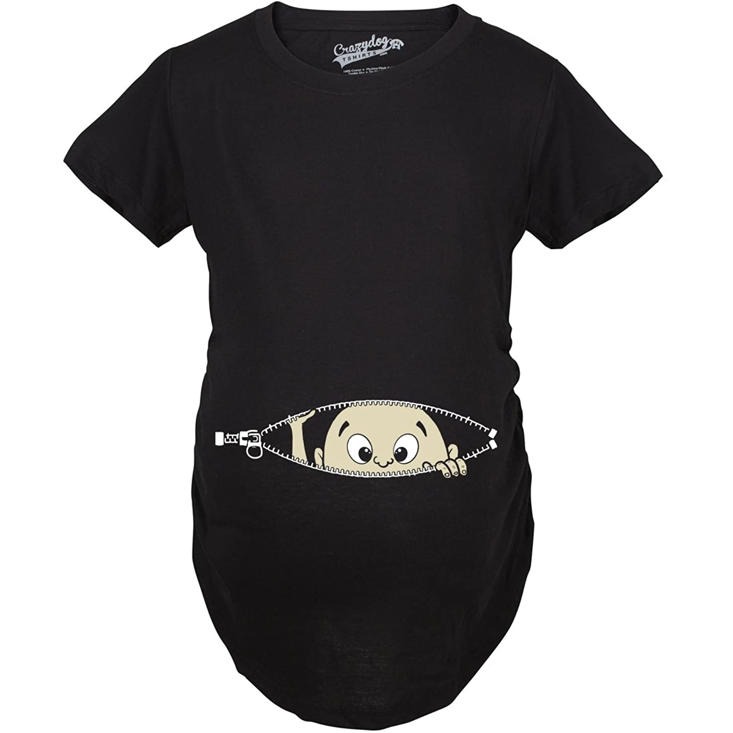 Black t shirt for babies - Maternity Baby Peeking T Shirt Funny Pregnancy Tee For Expecting Mothers Amazon Co Uk Clothing