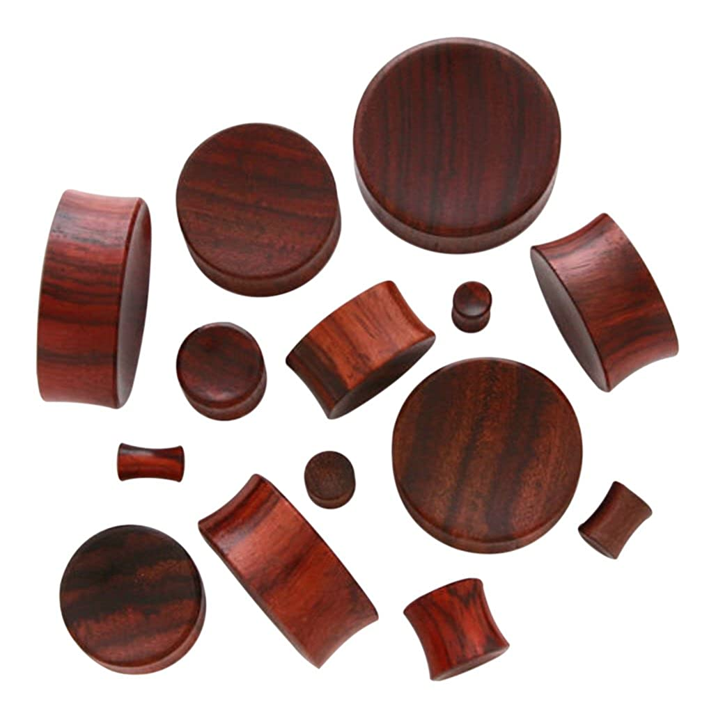 Lobal Domination PAIR of Concave Sono Wood Plugs Gauges - select size from 8g all the way up to 30mm p548 - 28mm