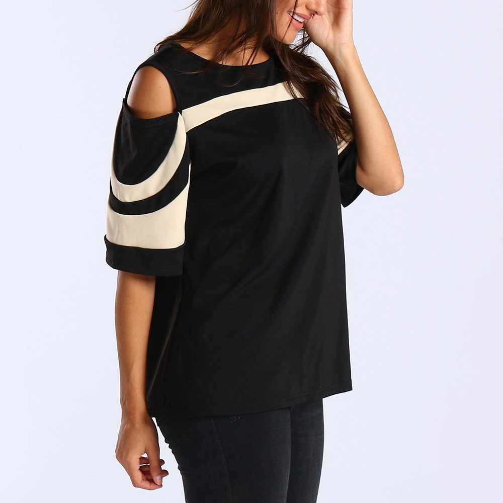 Oasisocean Womens Cold Shoulder 3/4 Bell Sleeve Black White ...