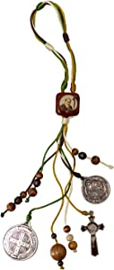 Saint Benedict Home Blessing Medal   Includes Prayer Card   Saint Benedict Medals   Brown Crucifix   Strong Cord and Wooden Beads   Great Catholic Gift for Dorm Rooms and Housewarming