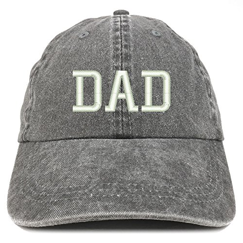 Trendy Apparel Shop Dad Embroidered Pigment Dyed Low Profile Cotton Cap - Black (Mens Pigment)