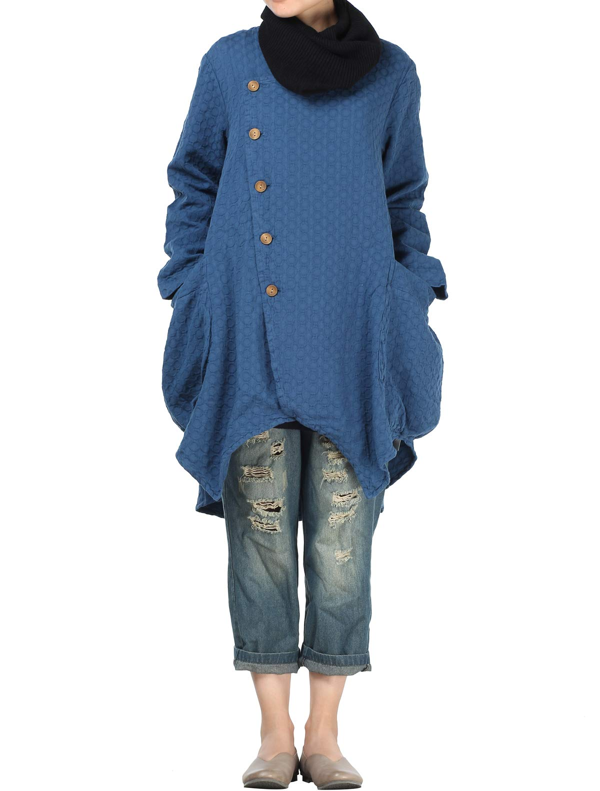 Mordenmiss Women's Button Closure Asymmetrical Trench Coat with Big Pockets Blue