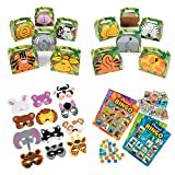 William & Douglas Animal Party Bundle | Party Supplies Games, Favors & Giveaways for Zoo Animal, Jungle and Safari Theme Birthday Party | Animal Recognition Bingo Game, Treat Boxes & Animal Masks