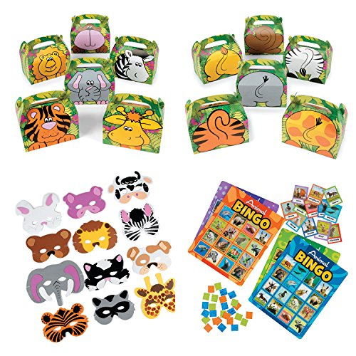 William & Douglas Animal Party Bundle | Party Supplies Games, Favors & Giveaways for Zoo Animal, Jungle and Safari Theme Birthday Party | Animal Recognition Bingo Game, Treat Boxes & -