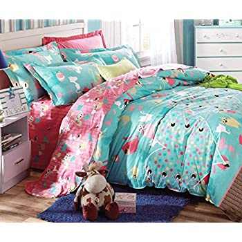 Cliab Cat Bedding For Girls Twin Coral Green Cats Bed Sheets 100% Cotton 5  Pieces