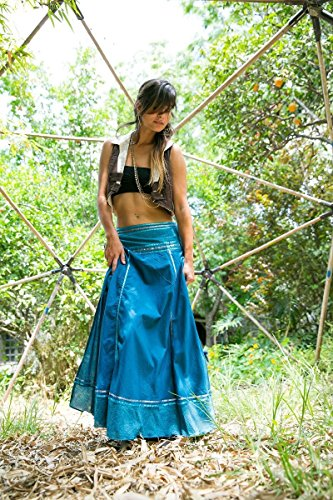 Handmade Long Cotton Maxi Skirt, Boho Chic Women's Summer Clothing, Turquoise Wrap Gypsy Tribal Skirt