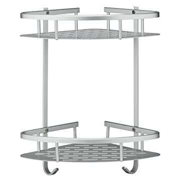 Deekec Bathroom Corner Shelf Shower Caddy Storage Durable Aluminum 2 Tiers  Shampoo Basket Holder Kitchen Corner