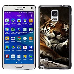 Qstar Arte & diseño plástico duro Fundas Cover Cubre Hard Case Cover para Samsung Galaxy Note 4 IV / SM-N910F / SM-N910K / SM-N910C / SM-N910W8 / SM-N910U / SM-N910G ( Tiger Sleepy Big Cat Cute Animal Nature)