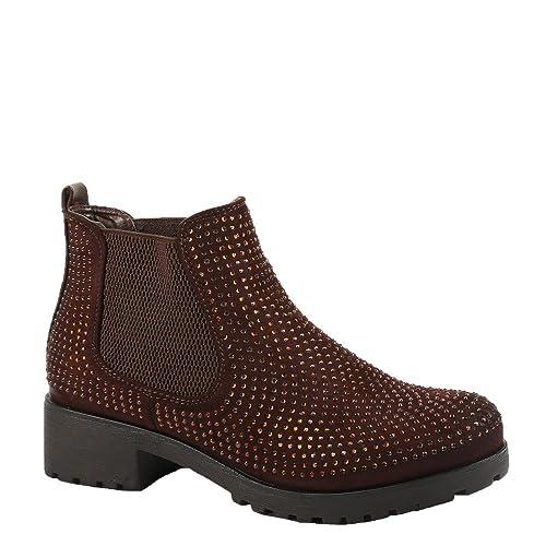 Ideal Shoes Bottines Style Chelsea bi-Matière Ornées de Strass Redoni  Marron 37