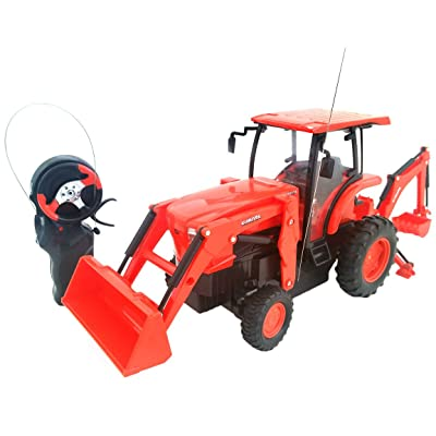 Cool Remote Control Kubota L6060 Loader and Backhoe Tractor- 6 H x 4 W x 14 L: Toys & Games