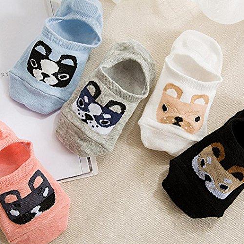 Profonde Respirant Femmes Dessin Sock Furtif Confortable Animé De Paire Gris Travail Coton Business Chic Dog Fashion Peu Décontracté Élasticité Adeshop Chaussettes Bouche 1 XvHAxX1