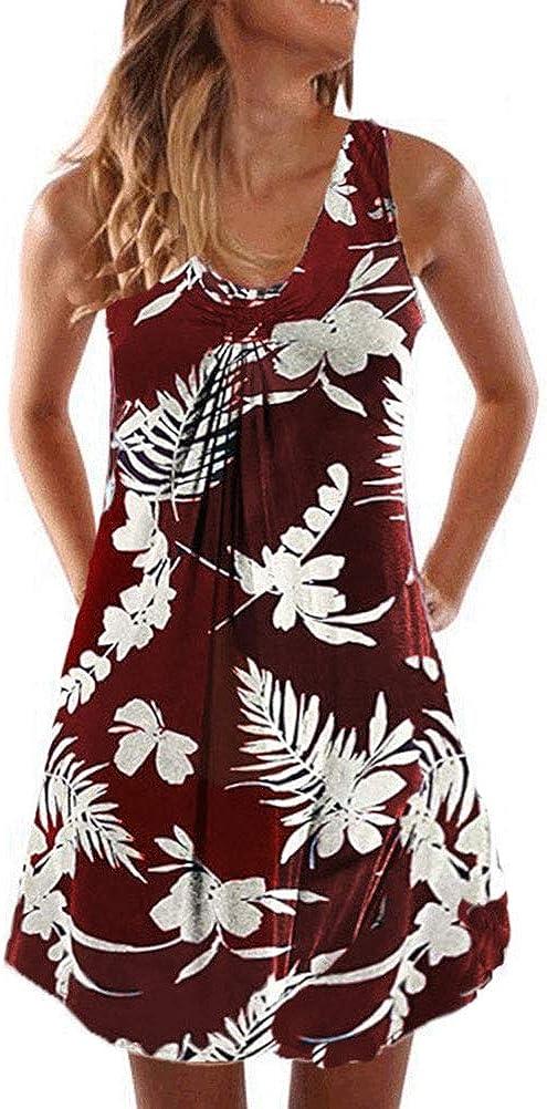 FEMLE Vestido sin Mangas c/ómodo con Cuello Redondo Estampado Floral para Mujer Mini Vestido Informal Relajado de Verano