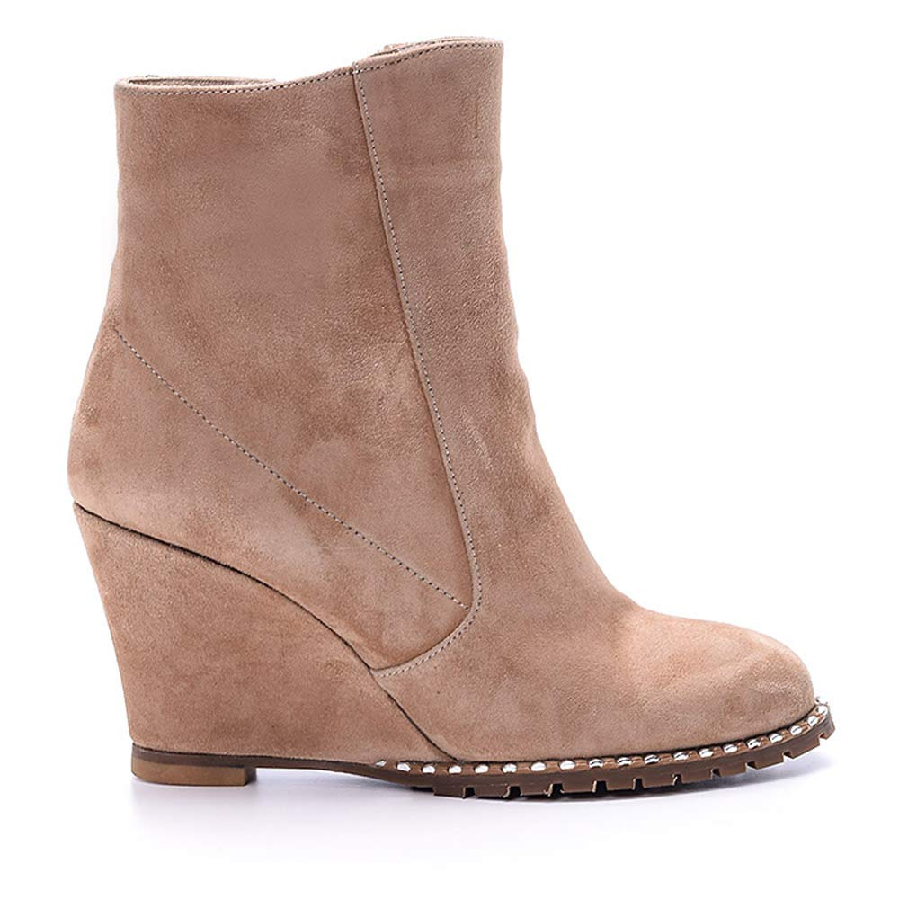 100% Suede Leather Beige Wedge Heel Bootie 61Pj88B-2BsL._SL1000_