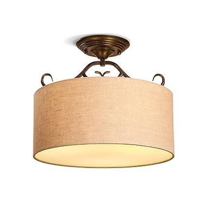 ZHDC® Lámparas de techo, American Village Lino retro Tela ...