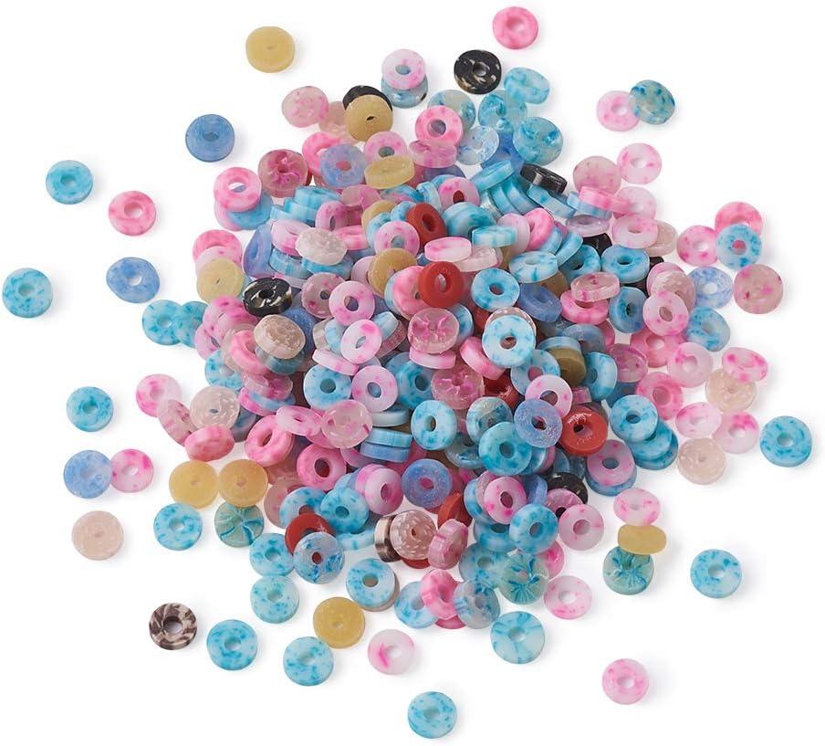 Cheriswelry, 660 unidades de cuentas de arcilla polimérica, 5 mm, separadores de cuentas de Heishi, colores mezclados para joyas y pulseras, agujeros: 1,5 mm