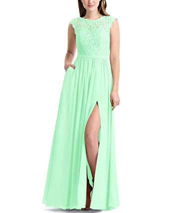 9627a27bd728 LOVEONLY Women's A-Line High Scoop Neck Bridesmaid Dress Top Lace Chiffon  Skirt Pleated V