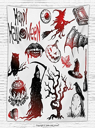 Halloween Decorations Fleece Throw Blanket Halloween Objects Scary Retro Evil Dead Skeleton Witch and Magic Book Picture Throw Blanket for es Black Red