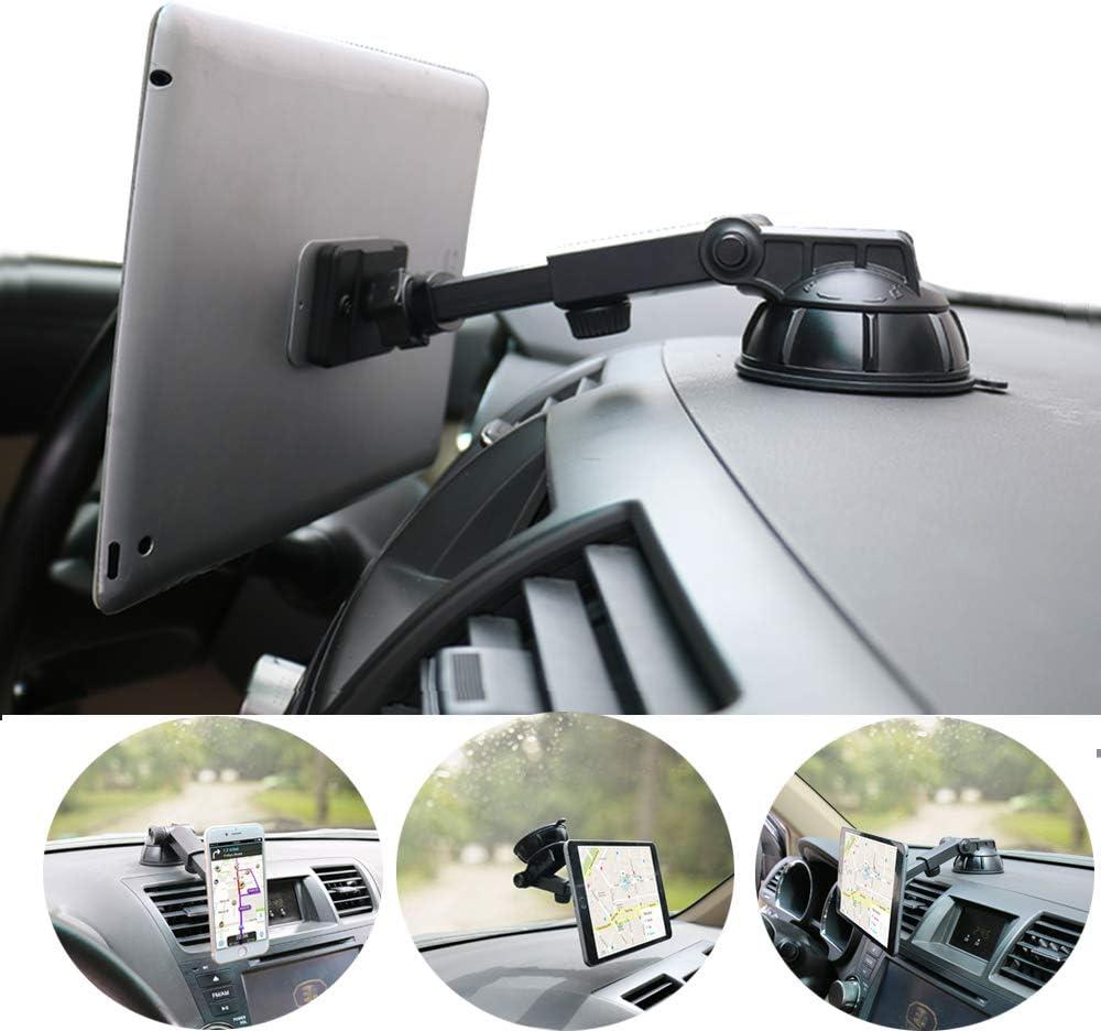Pldhpro Handy Und Tablet Autohalterung Magnetisch Armaturenbrett Windschutzscheibenhalterung 360 Drehbarer Tpu Saugfunktion Klebriges Gel Für Iphone Ipad Größe 4 10 Tablet Auto