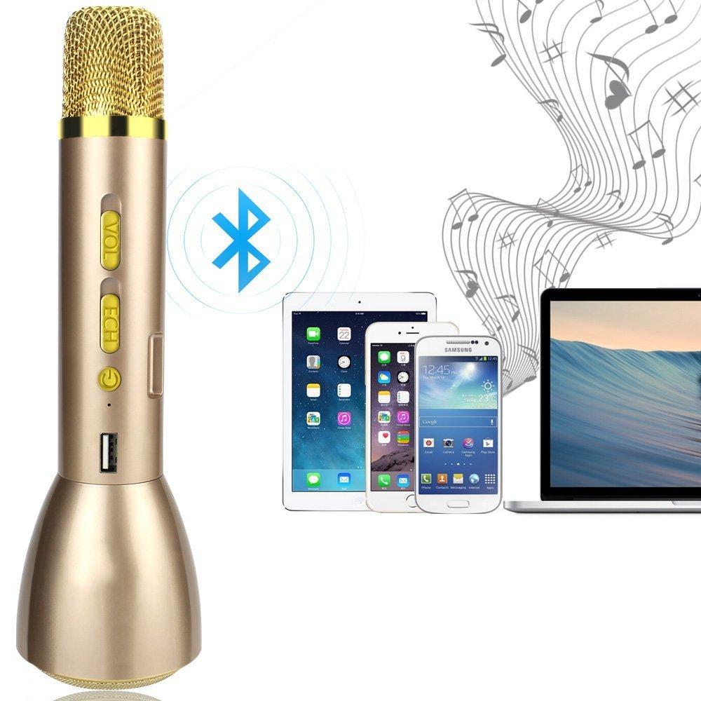 Micrófono Inalámbrico Bluetooth YFeel Micrófono Inalámbrico Portátil Bluetooth  Altavoz Incorporado para