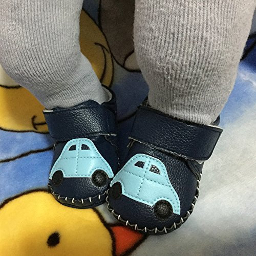 Lidiano Baby Non Slip Rubber Sole Cartoon Walking Slippers Crib Shoes Infant/Toddler (12-18 Months, Blue Car) - Image 5