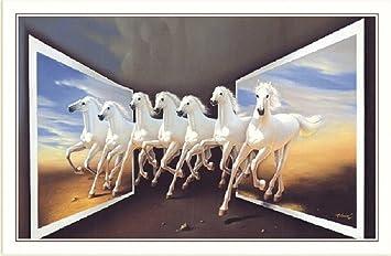 Bm Traders Vastu Art 7 White Horses Unframed Wall Poster Big 2 50