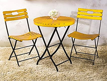Matchless Bistro Garden Set Of 1 Table And 2 Chair (Yellow)