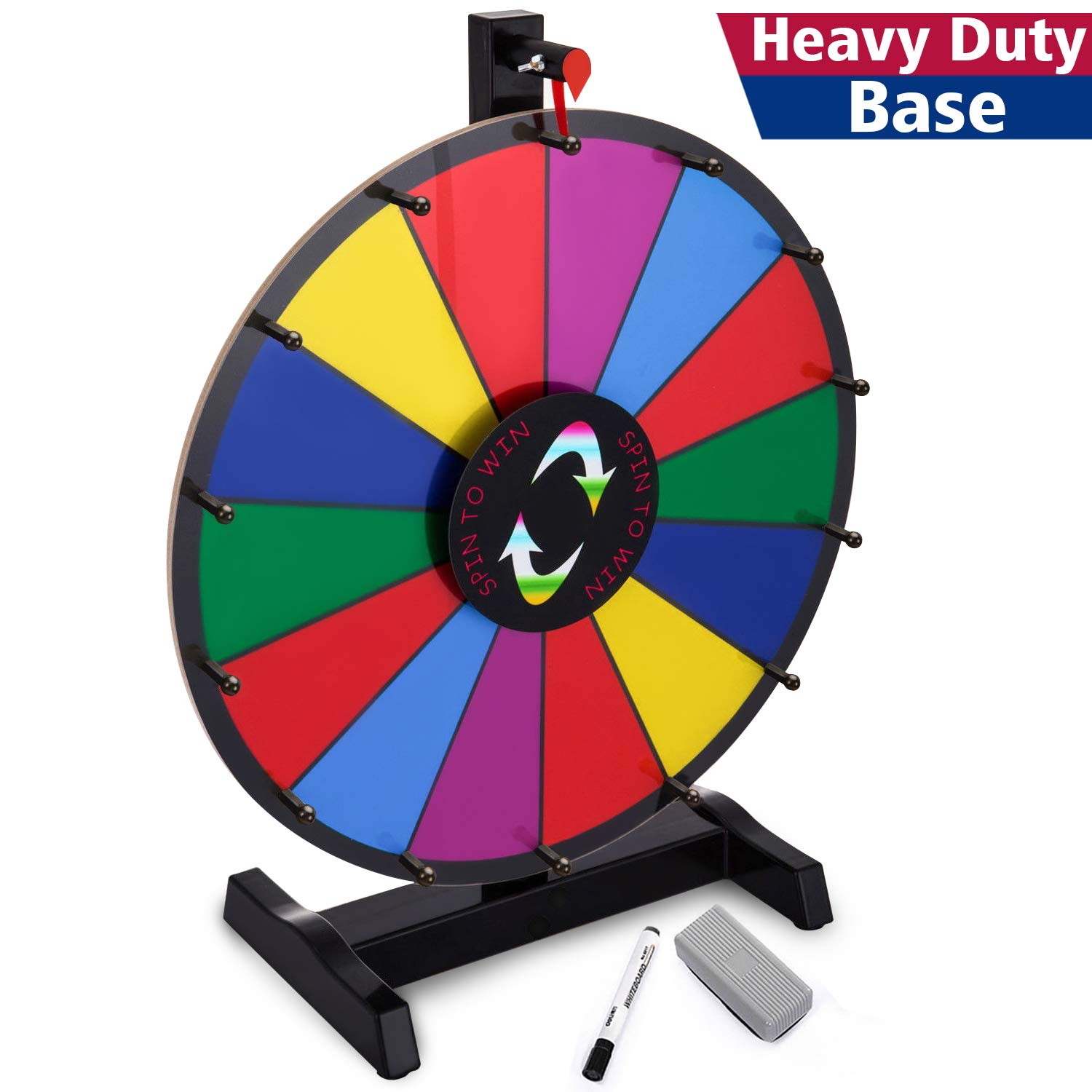 T-SIGN 18'' Heavy Duty Tabletop Spinning Prize Wheel, 14 Slots Color Prize Wheel Spinner with Dry Erase Marker & Eraser As Customized Gifts for Carnival and Trade Show, Win The Fortune Spin Game