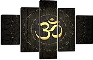 """5 Pieces Buddha OM Yoga Symbol Canvas Painting Abstract Golden Pattern Wall Art Decor Black Ornate Indian Yoga Circle Prints Pictures for Living Room Bedroom Dorm Home Decoration (60""""Wx40""""H)"""