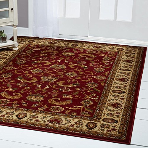 "Home Dynamix Royalty Elati Area Rug | Traditional Living Room Rug | Classic Boarders and Medallion Prints | Persian-Inspired Design | Red, Ivory, Tan 7'8"" x 10'4"""