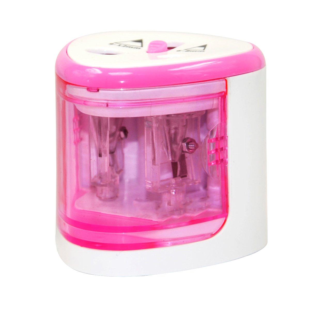 NUOLUX sacapuntas eléctrico automático funciona con pilas sacapuntas con doble agujeros para 6–12mm lápiz (rosa)
