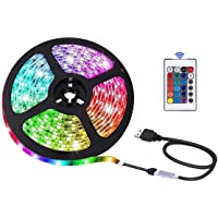 LED Strip Light 16.4ft/5m, Xkey USB Powered LED Light Strip, Non-Waterproof Rope Light Color Changing RGB SMD 5050 Tape…