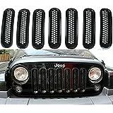 SunroadTek Black Front Grille Insert Kit For Jeep Wrangler Rubicon Sahara Jk 2007-2015 Model, 7 Pieces