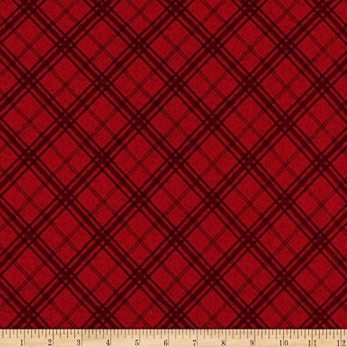 Henry Glass Flannel Frosty Friends Plaid Fabric by the Yard, Red