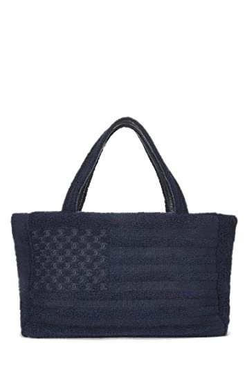 061d9cb4a86e Amazon.com: CHANEL Navy Terry Cloth Tote Medium (Pre-Owned): Shoes