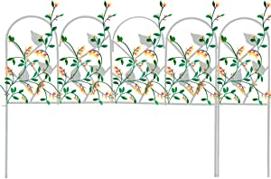 "Mr.Garden Edging Fence Iron Decorative Garden Barrier Panels 24""x18""(5pack) and 6""x18""(2pack) , Total Splicing Length 11.5ft, Dog Outdoor Fence, Coated Folding Border Fences for Garden Patio, White"