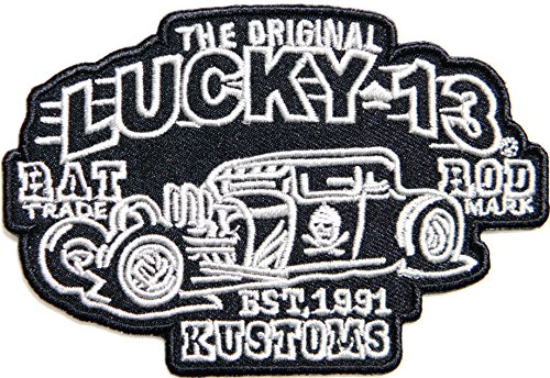 THE ORIGINAL LUCKY 13 RAT ROD TRADE MARK KUSTOMS HOT ROD CUSTOMS Logo Sign Racing Patch Iron on Applique Embroidered T shirt Jacket BY SURAPAN