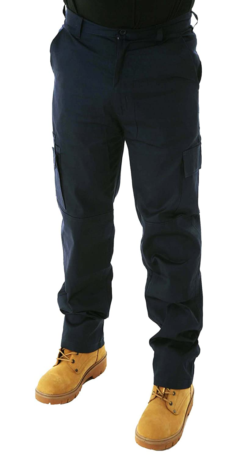 Mens Lightweight Cargo Combat Work Trousers with Knee Pad Pockets Size 28 to 52 Black or Navy By BWM Builder Worker Mechanic