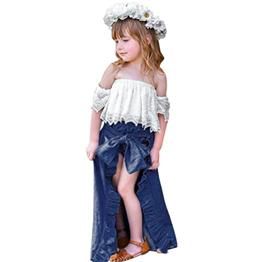 348f6a9ec79a43 Amazon.com Minisoya 3Pcs Toddler Baby Girls Lace Off Shoulder Crop Tops  Bandage Long Skirts Shorts Princess Party Outfits Set Clothing ...