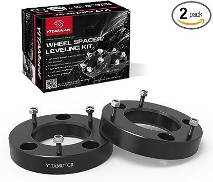 Black 4WD Billet Aluminum Strut Spacers Street Dirt Track Fits 2004-2019 Ford F150 2.5 Front Leveling Lift Kit 2WD