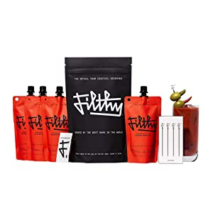 Filthy Food Bloody Mary Cocktail Kit - 4 8oz Bloody Mary Mix Pouches, 12 Individually Wrapped Pickle Stuffed Olives, 12 Individually Wrapped Pepper Stuffed Olives & 4 Stainless Steel Cocktail Picks