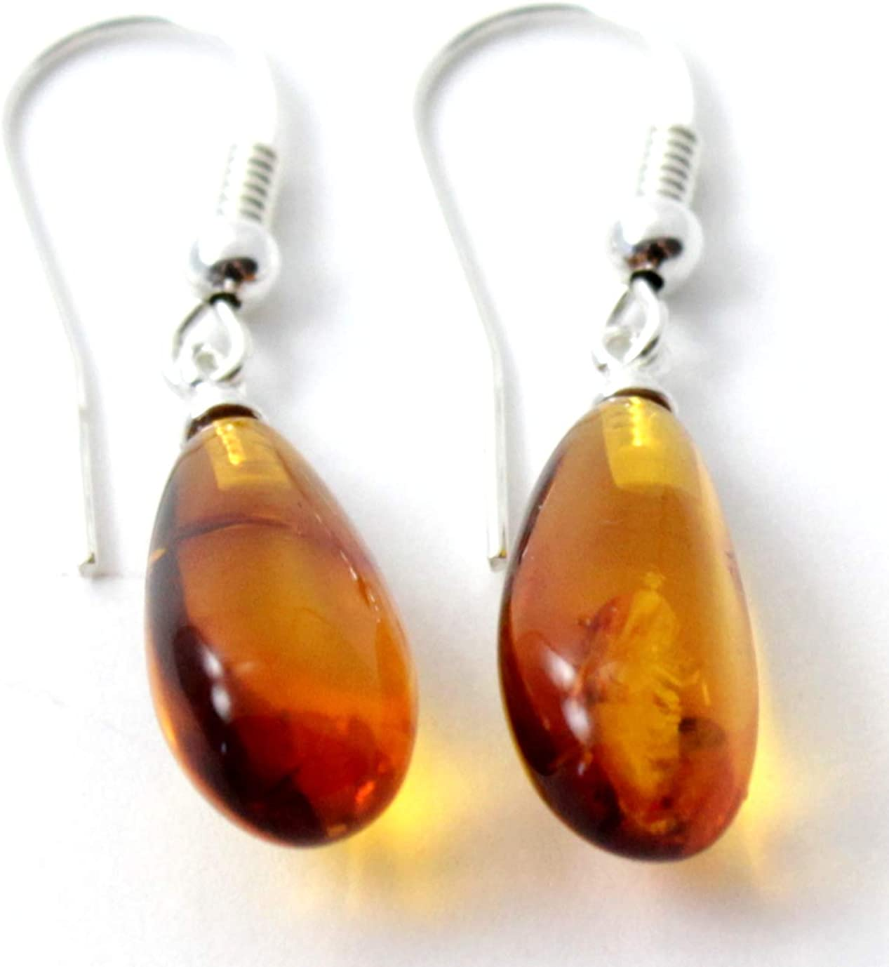 Wire Wrap Baltic Amber Earrings Centered in Sterling Silver Accents Stunning Colors and Design Don\u2019t Limit Your Lifestyle