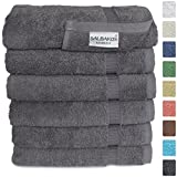 "Turkish Luxury Hotel & Spa 16""x30"" Hand Towel Set of 6 Cotton From Turkey - 700gsm Organic Eco-friendly (Hand Towels, Gray)"