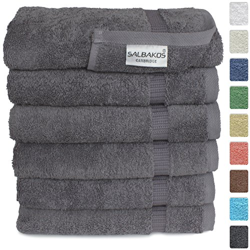SALBAKOS Luxury Hotel & Spa Turkish Cotton 6-Piece Eco-Friendly Hand Towel Set 16 x 30 Inch, Gray (Gray Pink And Towels)